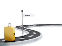 3d illustration of travel road sign, suitcase and road Stock Image