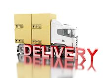 3d Truck carry boxes with. 3d illustration. Truck carry boxes with `delivery` text. Cargo transportation concept. Isolated white background Royalty Free Stock Photos