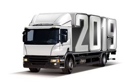 Truck with 2019. 3d illustration of truck delivers 2019 freight in the form like container, isolated vector illustration