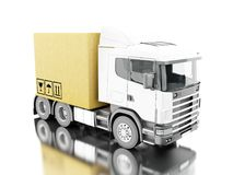 3d Truck carry carboard boxes. 3d illustration. TTruck carry carboard boxes. Delivery concept. Isolated white background Stock Image