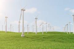 3d Illustration, Turbine auf dem Gras Alternative Stromquelle des Konzeptes Eco-Energie, saubere Energie Lizenzfreie Stockbilder