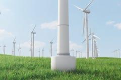 3d Illustration, Turbine auf dem Gras Alternative Stromquelle des Konzeptes Eco-Energie, saubere Energie Stockfoto