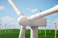 3d Illustration, Turbine auf dem Gras Alternative Stromquelle des Konzeptes Eco-Energie, saubere Energie Stockbilder