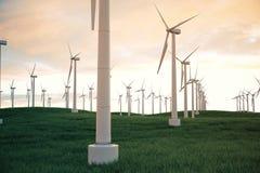 3d illustration, turbine de vent avec le ciel de coucher du soleil Énergie et l'électricité Énergie de substitution, eco ou génér Image stock