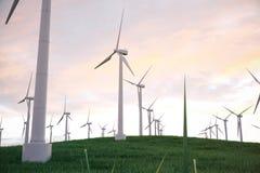 3d illustration, turbine sur l'herbe avec le fond de ciel de coucher du soleil Source alternative de l'électricité de concept mou Photographie stock