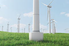 3d illustration, turbine sur l'herbe Source alternative de l'électricité de concept Énergie d'Eco, énergie propre Photo stock