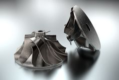 3D illustration of turbo impeller. Isolated on metallic Royalty Free Stock Photo