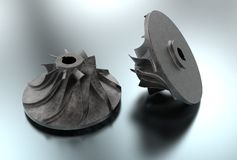 3D illustration of turbo impeller. Isolated on metallic Stock Photography