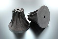 3D illustration of turbo impeller. Isolated on metallic Stock Photo