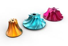 3D illustration of turbo impellers. On white Royalty Free Stock Images