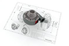 3D illustration of turbo pump. Above engineering drawing Stock Photo