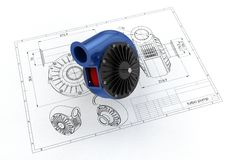 3D illustration of turbo pump. Above engineering drawing Royalty Free Stock Photography