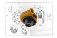 3D illustration of turbo pump. Above engineering drawing Stock Photos