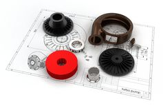 3D illustration of turbo pump. Above engineering drawing Royalty Free Stock Photos