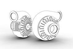 3D illustration of turbo pumps Stock Photo