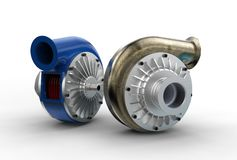 3D illustration of turbo pumps. On white Royalty Free Stock Photos
