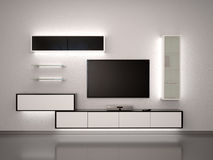 3d illustration of TV. Black and white. Furniture in modern style Royalty Free Stock Photos