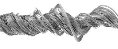 3d illustration of twisting metal wires. Isolated on white Stock Photos