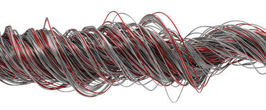 3d illustration of twisting metal wires. Isolated on white Royalty Free Stock Photo