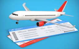 3d illustration of two airline, air flight tickets with airplane, airliner on the blue background. Royalty Free Stock Images