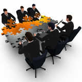 3d illustration two business teams building a puzzle  Royalty Free Stock Photography