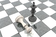 3d illustration: Two chess figures on the playing field. Black king is a winner and a loser white lies prostrate at his feet. Fall. En. Marble Board game Royalty Free Stock Images