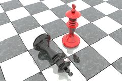 3d illustration: Two chess figures on the playing field. Red king is a winner and a loser black lies prostrate at his feet. Fallen. Marble Board game. Business Stock Images