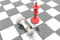 3d illustration: Two chess figures on the playing field. Red king is a winner and a loser white lies prostrate at his feet. Fallen. Marble Board game. Business Stock Image