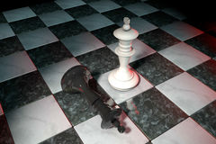 3d illustration: Two chess figures on the playing field. White king is a winner and a loser black lies prostrate at his feet. Fall. En. Marble Board game. Spot Royalty Free Stock Images