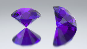 3D illustration two diamond purple tanzanite with reflection. On a gray background Stock Photography