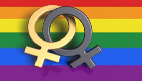 Two female symbols on a rainbow flag. 3D Illustration. Two female symbols on a rainbow flag  LGBT Movement as a background Royalty Free Stock Photos