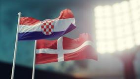 3D Illustration. Two national flags waving on wind. Night stadium. Championship 2018. Soccer. Croatia versus Denmark. 3D Illustration. Two flags waving on wind Royalty Free Stock Image