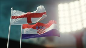 3D Illustration. Two national flags waving on wind. Night stadium. Championship 2018. Soccer. England versus Croatia. 3D Illustration. Two flags waving on wind Stock Photos