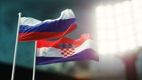 3D Illustration. Two national flags waving on wind. Night stadium. Championship 2018. Soccer. Russia versus Croatia. 3D Illustration. Two flags waving on wind Royalty Free Stock Photography