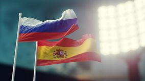 3D Illustration. Two national flags waving on wind. Night stadium. Championship 2018. Soccer. Russia versus Spain. 3D Illustration. Two flags waving on wind Stock Photography