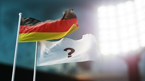 3D Illustration. Two flags waving on wind. Question mark on white and Germany. Night stadium. Championship 2018. Soccer. Bookmaker. 3D Illustration. Two flags Royalty Free Stock Photos