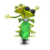 3D Illustration of two frogs on a motor scooter Royalty Free Stock Photo