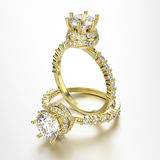 3D illustration two gold rings with diamonds Stock Image
