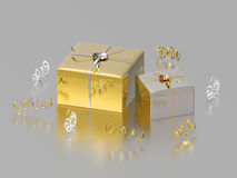 3D illustration two gold silver gifts and confetti Royalty Free Stock Images