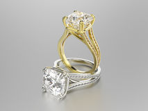 3D illustration two gold and silver rings with diamonds Stock Photography