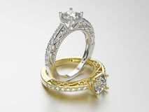 3D illustration two gold and silver rings with diamonds Royalty Free Stock Images