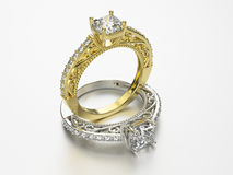 3D illustration two gold and silver rings with diamonds Stock Photos