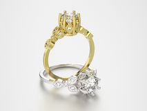3D illustration two gold and silver rings with diamonds Royalty Free Stock Photos