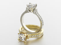 3D illustration two gold and silver rings with diamonds Royalty Free Stock Image
