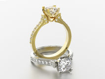 3D illustration two gold and silver rings with diamonds Stock Images