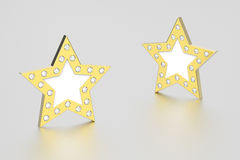 3D illustration two gold stars with diamonds. On a grey background Stock Photo