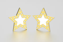 3D illustration two gold stars with diamonds. On a grey background Royalty Free Stock Photography