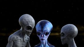 Illustration of two gray aliens studying a blue extraterrestrial in space with a nebula in the background. 3d illustration of two gray aliens studying a blue vector illustration