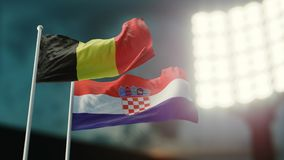 3D Illustration. Two national flags waving on wind. Night stadium. Championship 2018. Soccer. Belgium versus Croatia. 3D Illustration. Two flags waving on wind Royalty Free Stock Photography