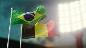 3D Illustration. Two national flags waving on wind. Night stadium. Championship 2018. Soccer. Brazil versus Belgium. 3D Illustration. Two flags waving on wind Royalty Free Stock Image